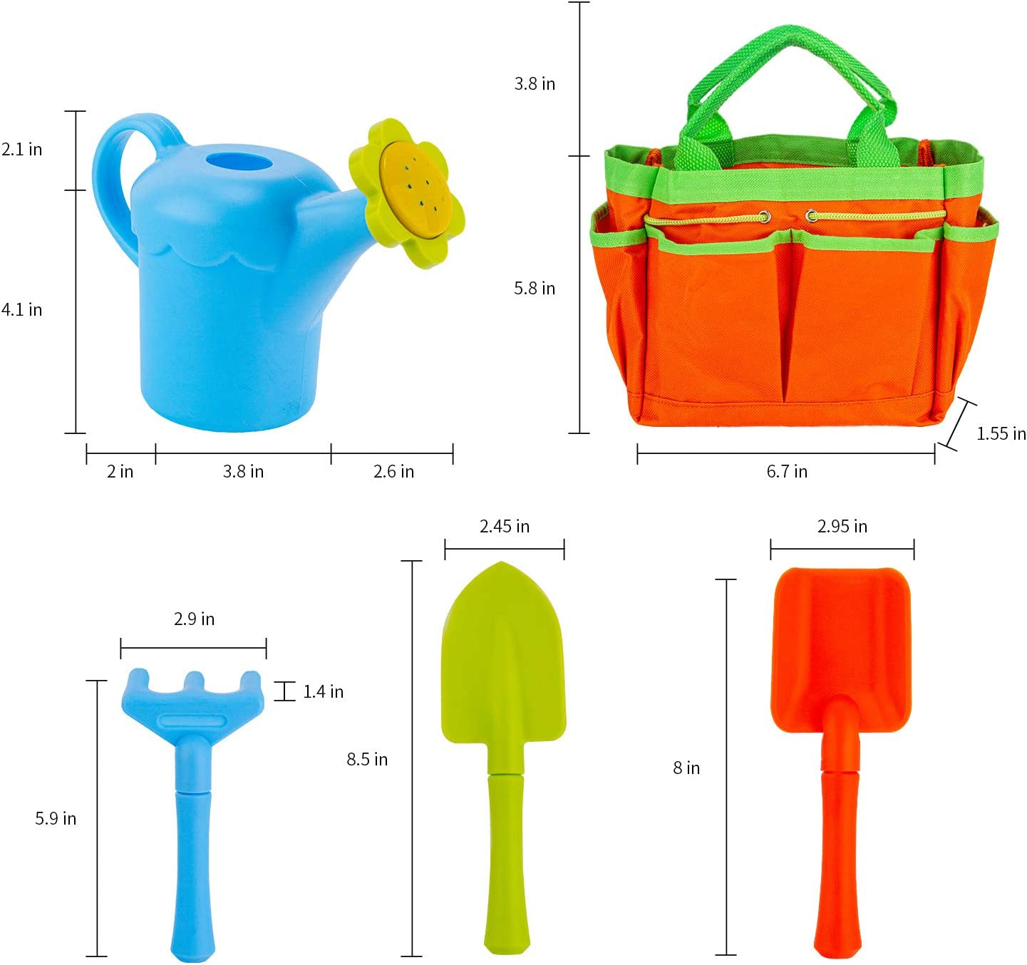 Garden Toe Bag and Apron Shovel Sun Hat Gardening Gloves Rake Trowel MoTrent Children Gardening Tools Set 8 PCS Kids Garden Tool Toys Including Watering Can