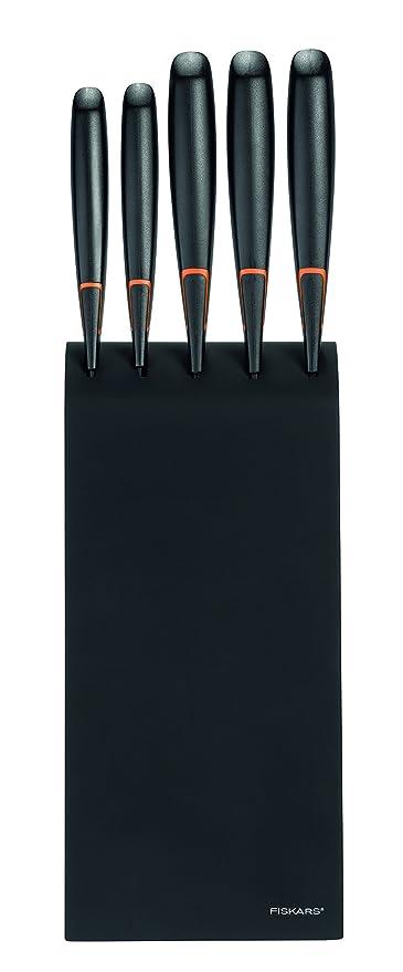 Fiskars Bloque de cuchillos con 5 cuchillos, Ancho: 15,5 cm, Alto: 37 cm, Madera de abedul, Negro, Edge, 1003099
