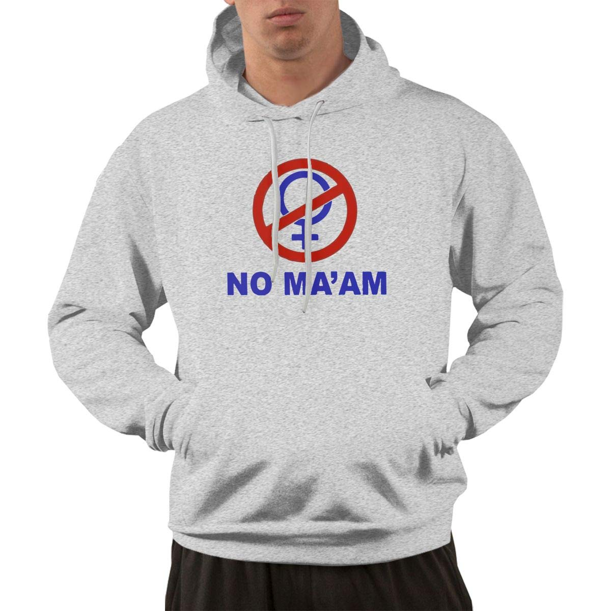 Mens Casual Cotton NO MAAM Hoodies Hooded Sweatshirts Black