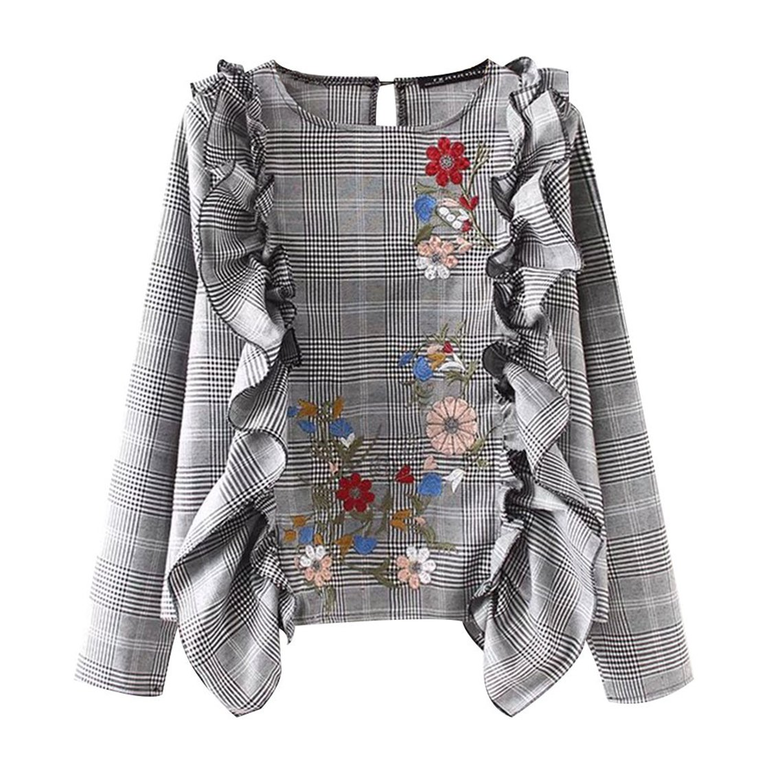 Mose T-Shirts for Women, New Casual Style Women's Ear Check Embroidered Sleeve Shirts Ruffle Blouse Plaid Sweatshirts Daily Fashion Tops New (S, Gray)
