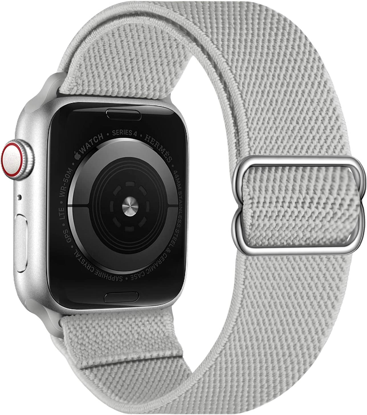 OXWALLEN Stretchy Nylon Solo Loop Compatible with Apple Watch Bands 38mm 40mm, Adjustable Elastic Braided Stretches Sport Women Men Strap for iWatch SE Series 6/5/4/3/2/1,Gray