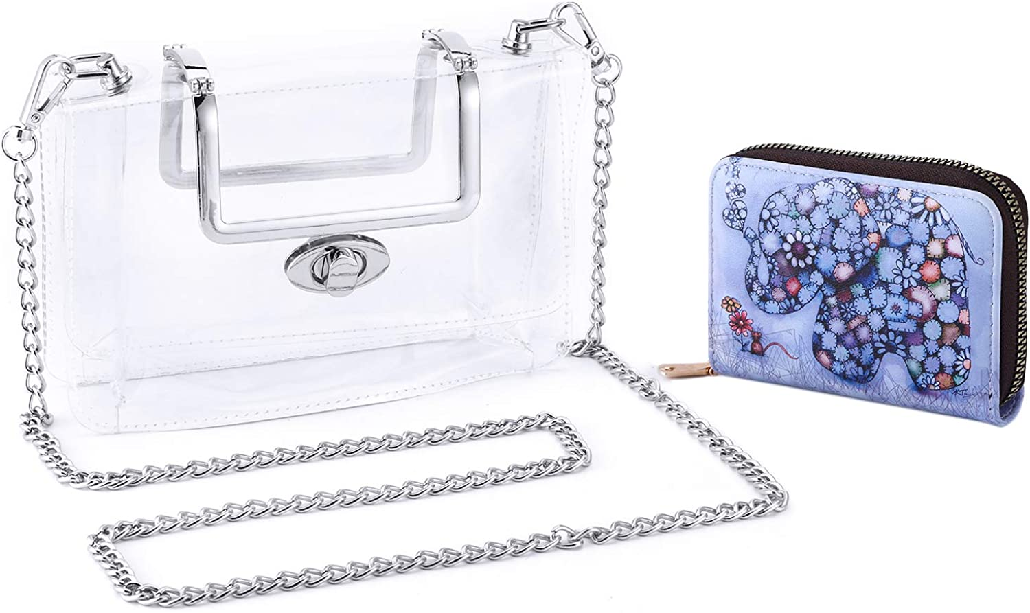 MOETYANG Womens Transparent Clutch Clear Purse Crossbody Shoulder Bags with Removable Shoulder Strap NFL/&PGA Stadium Approved Bags