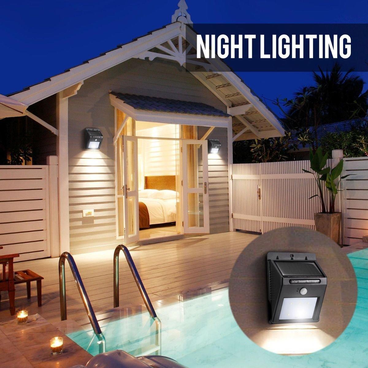 dealetechアウトドア防水ソーラーLEDモーションセンサーライト庭セキュリティ壁ライト B01M69RQ0M