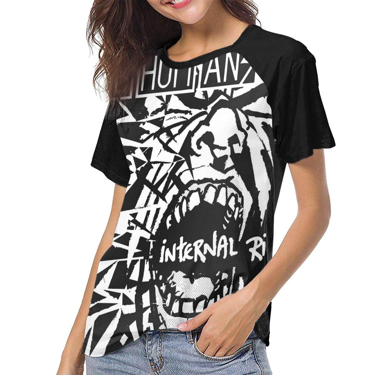 UISIWMSOE Subhumans Internal Riot Womens Summer Crew Neck T Shirt Tunic Top Black