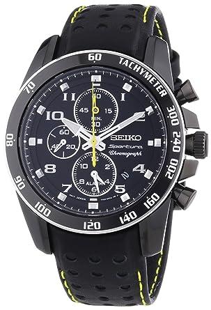 0b112369f44d Seiko Reloj Cronógrafo para Hombre de Cuarzo con Correa en Cuero SNAE67P1   Amazon.es  Relojes
