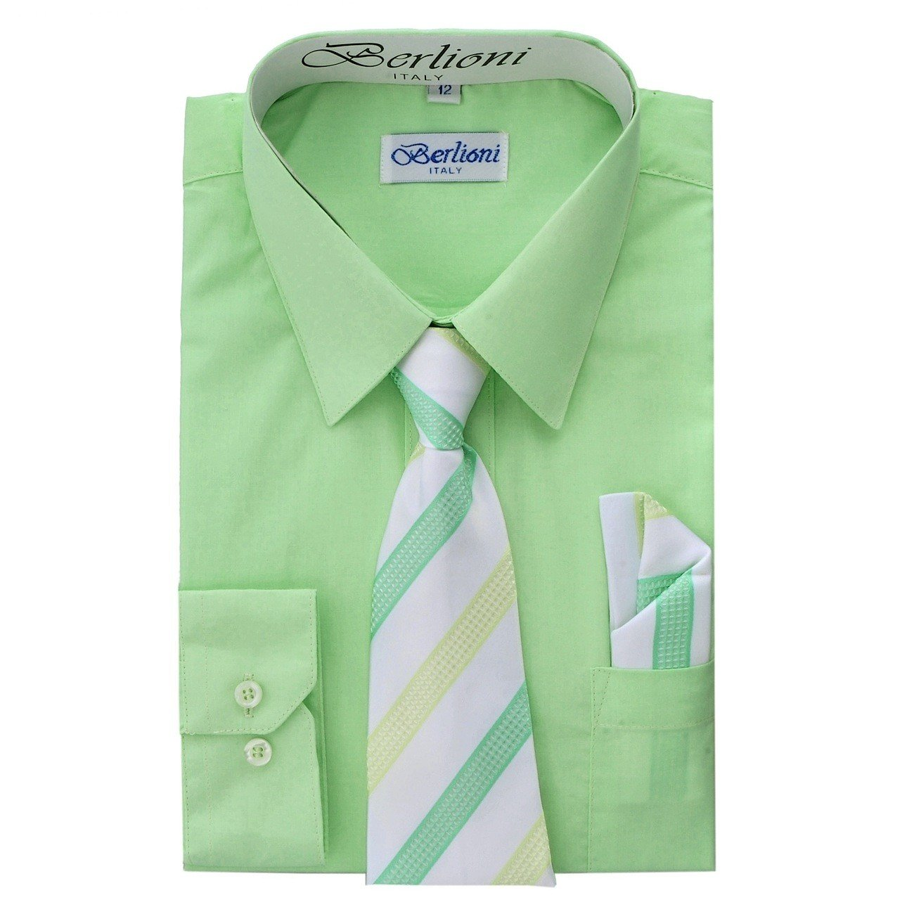 Boy's Dress Shirt, Necktie, and Hanky Set - Lime, Size 20