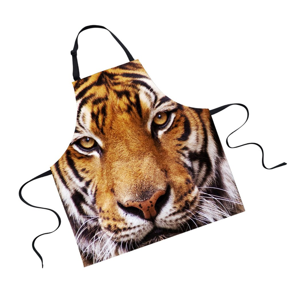 Jili Online Funny Animal Printed Aprons for Men Party Animal Baking Kitchen Chefs Gift - Tiger
