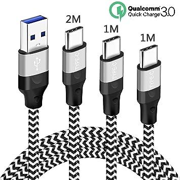 Cable para Samsung A50 A40 A70 A20E A80,Note 10 10 Plus 10+,Cargador USB Tipo C de Nylon Trenzado Cable para Todos los Dispositivos Samsung Galaxy ...