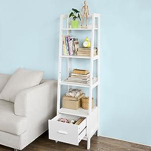 Haotian White Modern Ladder Bookcase Made of Wood, Book Shelf,Stand Shelf, Wall Shelf (FRG116-K-W)