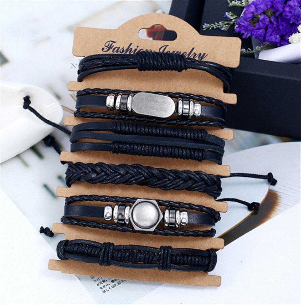 Scrox 6 piezas Personalidad retro tejida pulsera de traje de cuero multicapa, pulsera de hombre, pulsera de mujer: Amazon.es: Hogar
