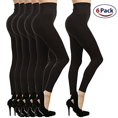 6-Pack High Waist Fleece Lined Tummy Control Full Length Legging Pants
