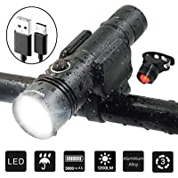 WasaFire 1200 Lumens Waterproof USB Rechargeable LED Bike Lights Set