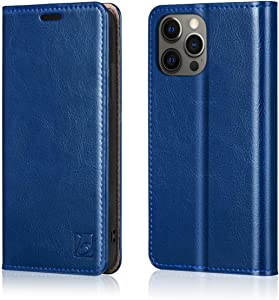 "Belemay Compatible with iPhone 12/12 Pro Wallet Case 5G (6.1"" 2020) Genuine Cowhide Leather Folio Flip Cover [RFID Blocking] Credit Card Holder [Soft TPU Shell] Kickstand Function Folding Case, Blue"