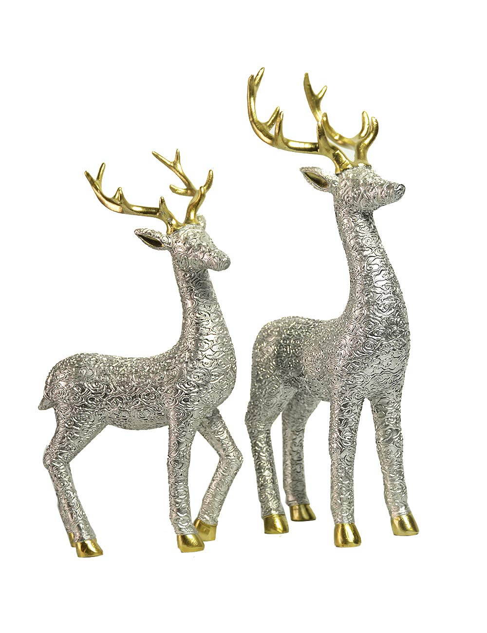 HauCoze 2pcs Deer Statue Reindeer Stag Sculpture,Tabletop Figurine,Home Decoration,Gift for Kids Present,Hand-painted Resin Decor Silver