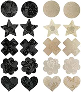 BinaryABC Disposable Nipple Cover,Petals Pasties Breast Stickers Invisible Cover,10 Pairs