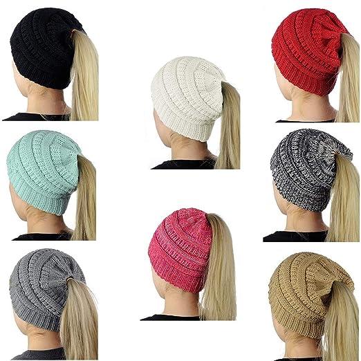SEALEN Beanie Tail Soft Stretch Trendy Warm Chunky Women Knit Messy High  Bun Ponytail Beanie Hat 328fb9e42b
