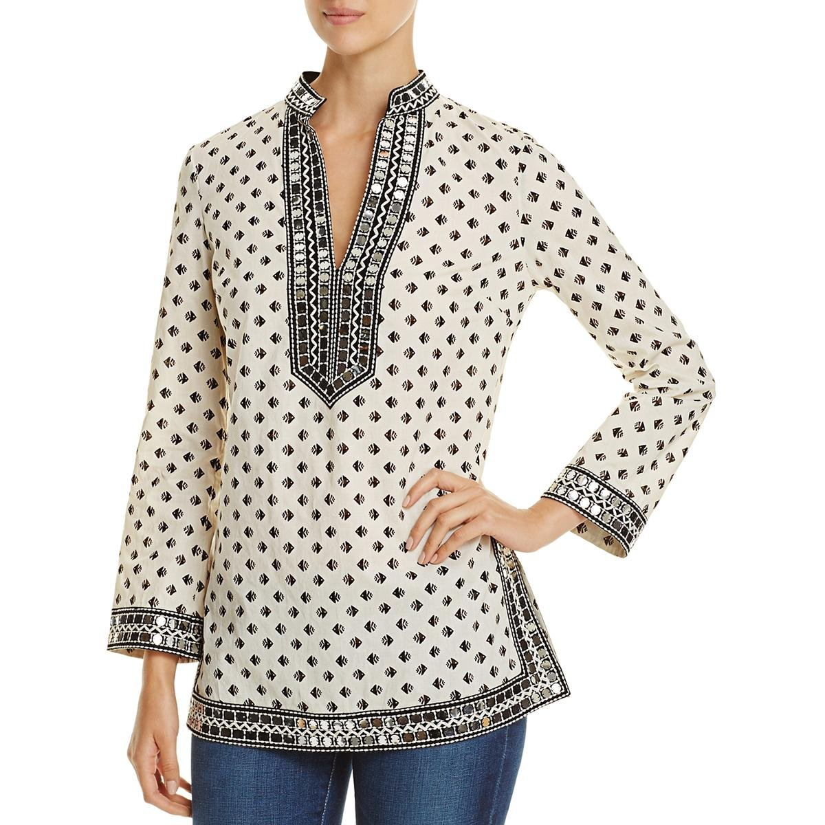 Tory Burch Womens Printed Sequined Tunic Top Ivory 4 by Tory Burch
