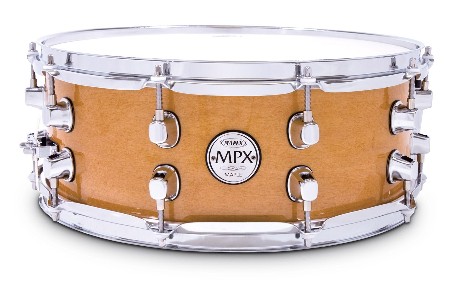 Mapex MPX14 inch x 5.5 inch all maple snare drum in natural finish with chrome hardware by Mapex