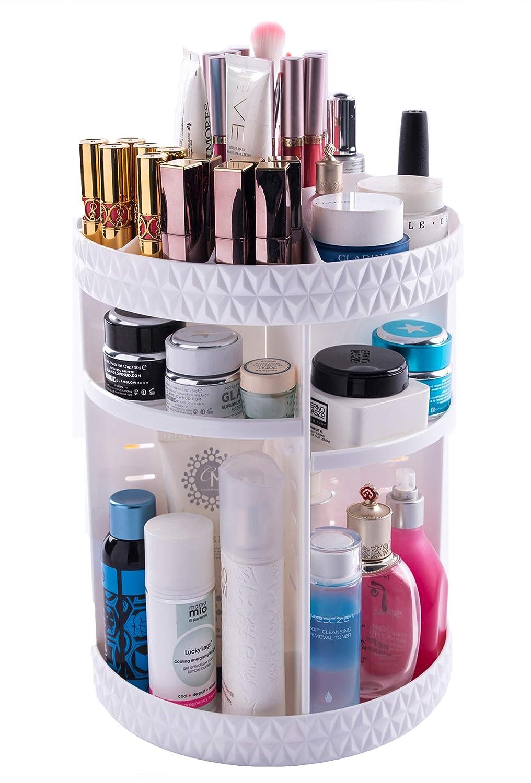 Choice Fun Rotating Makeup Organizer Acrylic Storage Shelves Adjustable Vanity Tray 3 Tier Stand Cosmetic Organizer White