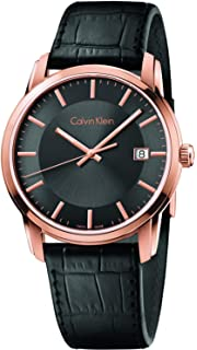 Calvin Klein Infinite Rose Gold / Black Leather Quartz Analog Womens Watch K5S316C3