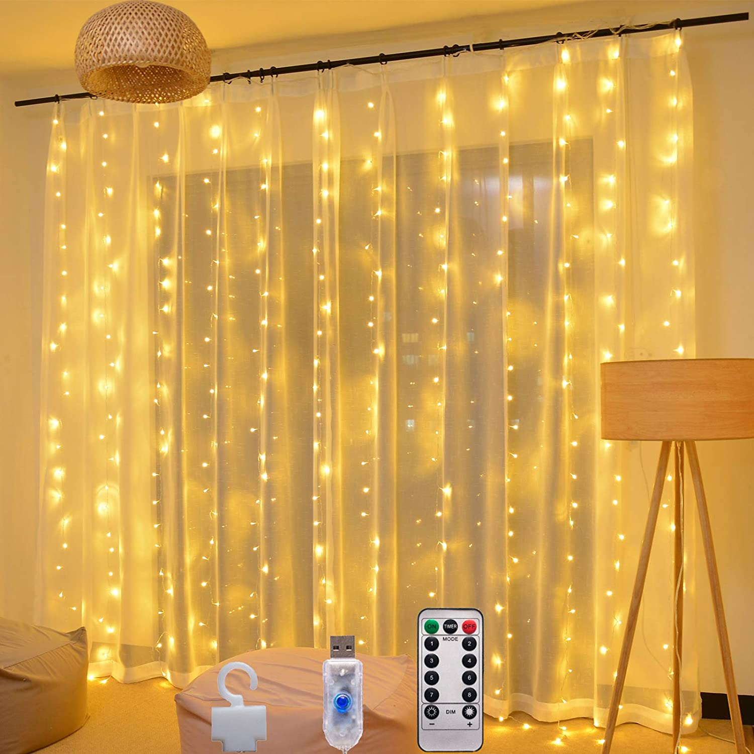 Ecurfu Window Curtain String Lights, 300 LED Fairy Light, Remote, 8 Lighting Modes for Christmas, Wedding, Bedroom Wall Party Indoor Outdoor Decor, 9.8 x 9.8 ft Warm White