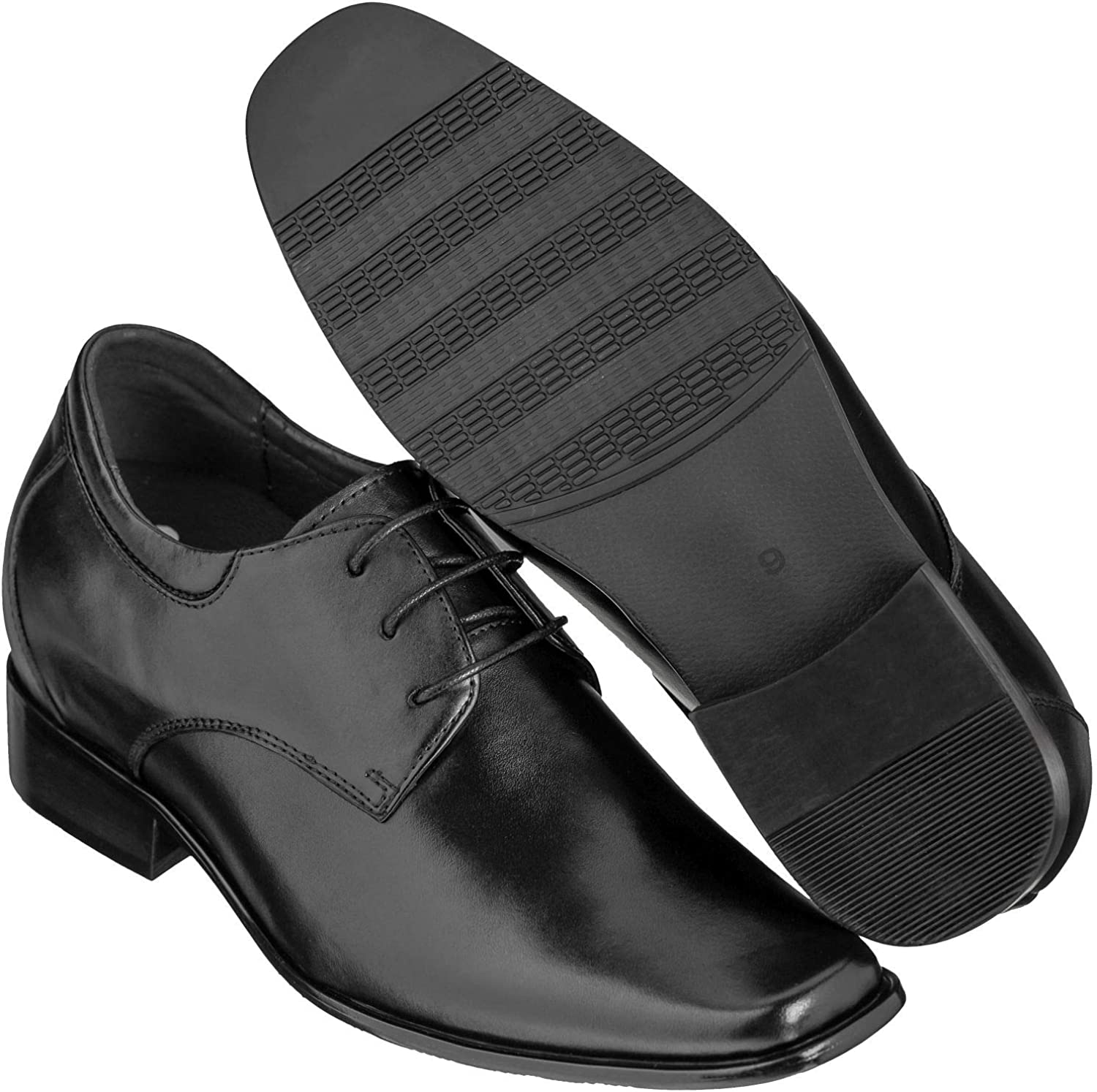 Height Increasing Elevator Shoes CALDEN K5655-3.2 Inches Taller Black Dress Shoes