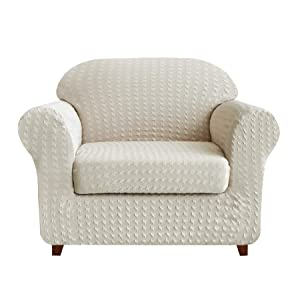 Subrtex 2-Piece High Stretch Slipcovers Durable Soft Jacquard Fabric, Machine Washable Sofa Covers (Chair, Cream Print),