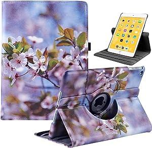 LRCXL iPad 5th/ 6th Generation Case, iPad 9.7 Inch 2017/2018 Case - Rotating Stand Protective Cover with Auto Sleep Wake for Apple ipad Air 2/ iPad Air 2013(Peach Blossom)