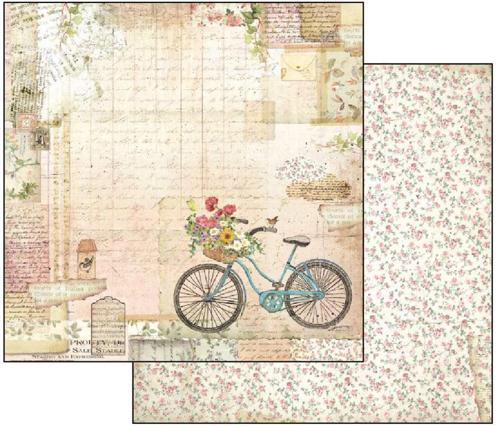 Stamperia Papel Scrap Bicicleta y Jardín, Multicolor, Talla unica: Amazon.es: Hogar