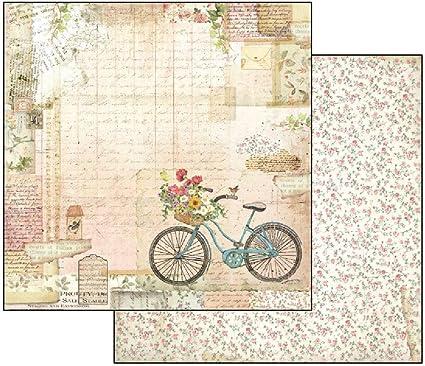 Stamperia Papel Scrap Bicicleta y Jardín, Multicolor, Talla unica ...