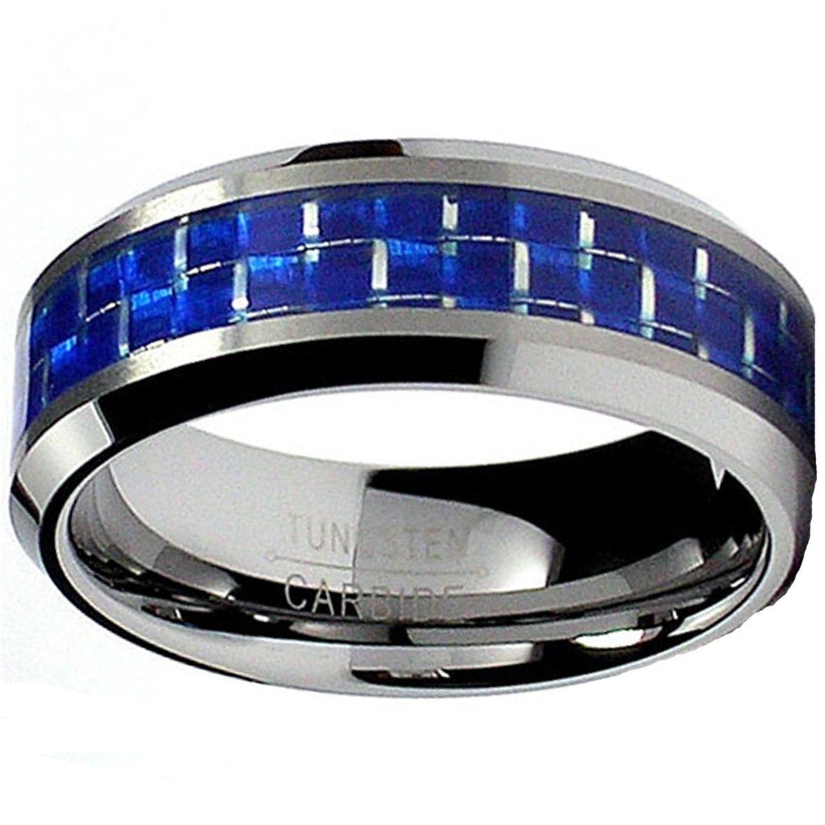 8MM Flat Top Tungsten Carbide Ring Wedding Band W/Blue Carbon Fiber Inlay Sizes 7 to 13 WCR11089