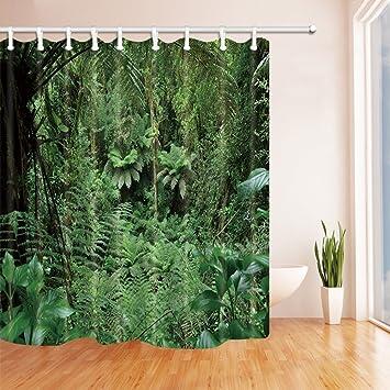 Tropische Regenwald-Duschvorhänge für Badezimmer-Palmen mit ...