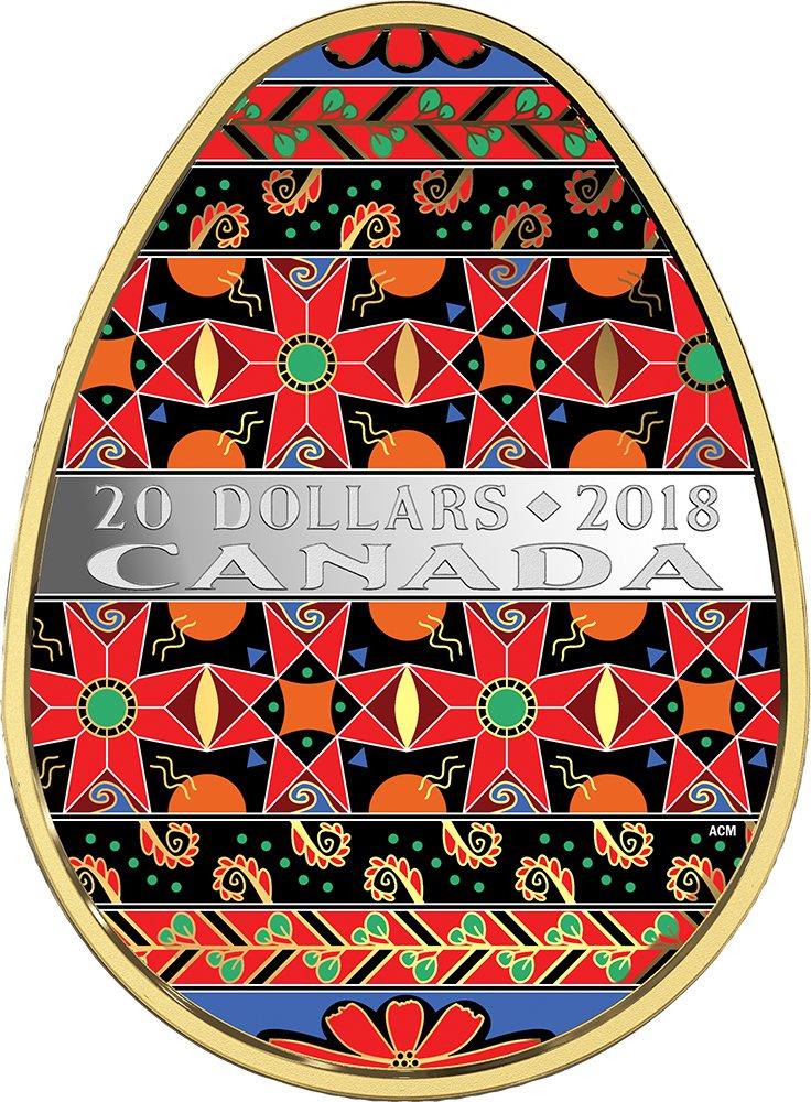 Ukrainian PYSANKA Easter Golden Spring Egg Shape Folk Art 1 Oz Silver Coin 20$ Canada 2018