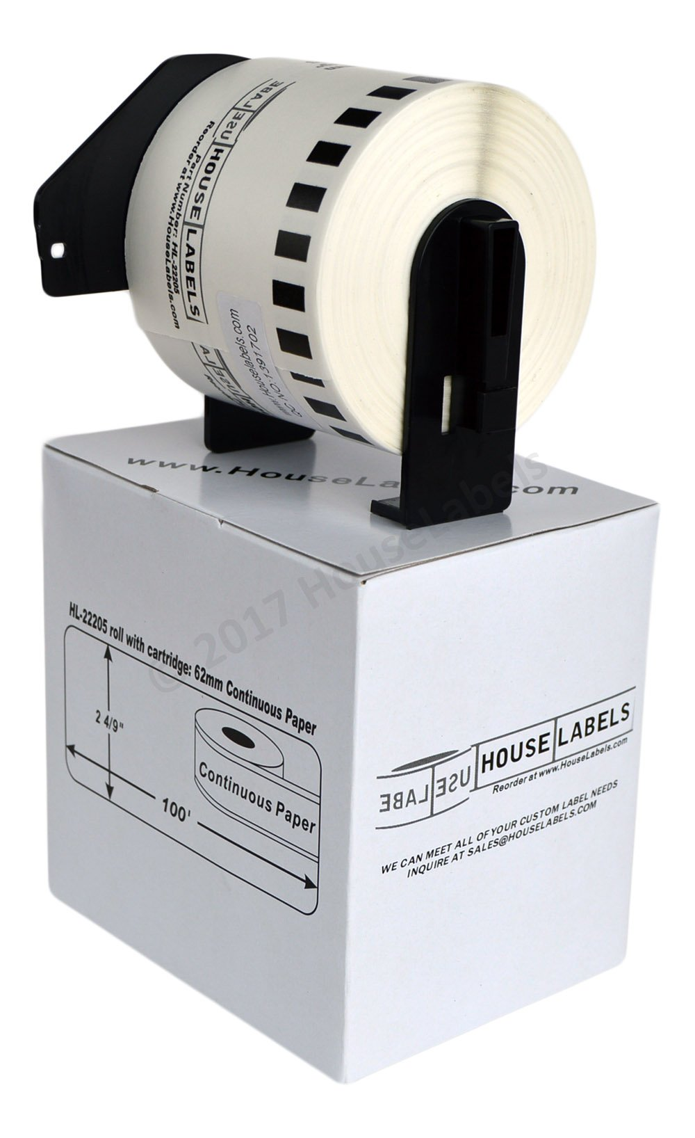 6 Rolls; BROTHER-Compatible DK-2205 Continuous Paper Labels With PERMANENT black cartridges (2-4/9'' x 100'; 62mm 30.48m) -- BPA Free!