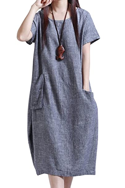 d092098ba5 Asher Women s Round Neckline Baggy House Dress Loose Cotton Linen Short  Sleeve Long Dress with Pockets