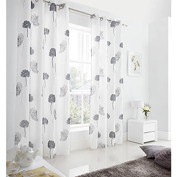 just contempo cortinas de gasa forradas diseo de amapolas polister gris