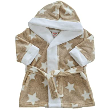 320a2a61f Soft Touch Baby Dressing Gown Infants Fleece Robe with Hood   Stars ...