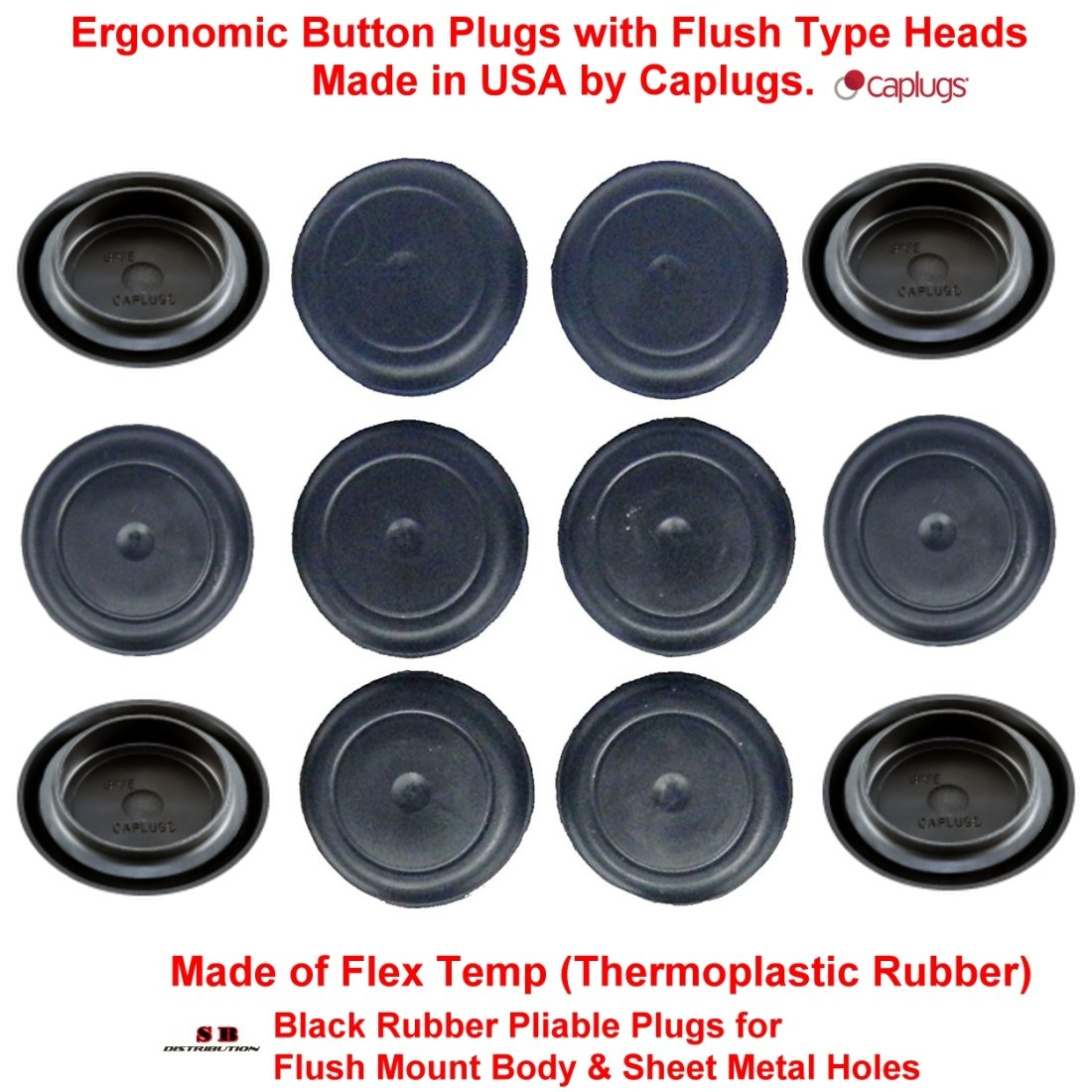 (Pack of 500) 1'' - (1.00 inch) Black Rubber Plugs | for Flush Mount Body and Sheet Metal Holes. Ergonomic Button Plugs with Flush-Type Heads | Made in USA by CAPLUGS | Fits 1'' hole diameter