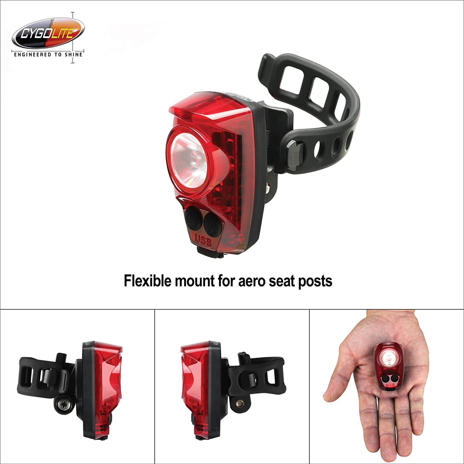 CYGOLITE Hotshot Pro 200 Lumen Bike Tail Light User Adjustable Flash Speed- Compact Design Great for Busy Roads USB Rechargeable 6 Night /& Daytime Modes IP64 Water Resistant FLEXIBLE MOUNT TYPE