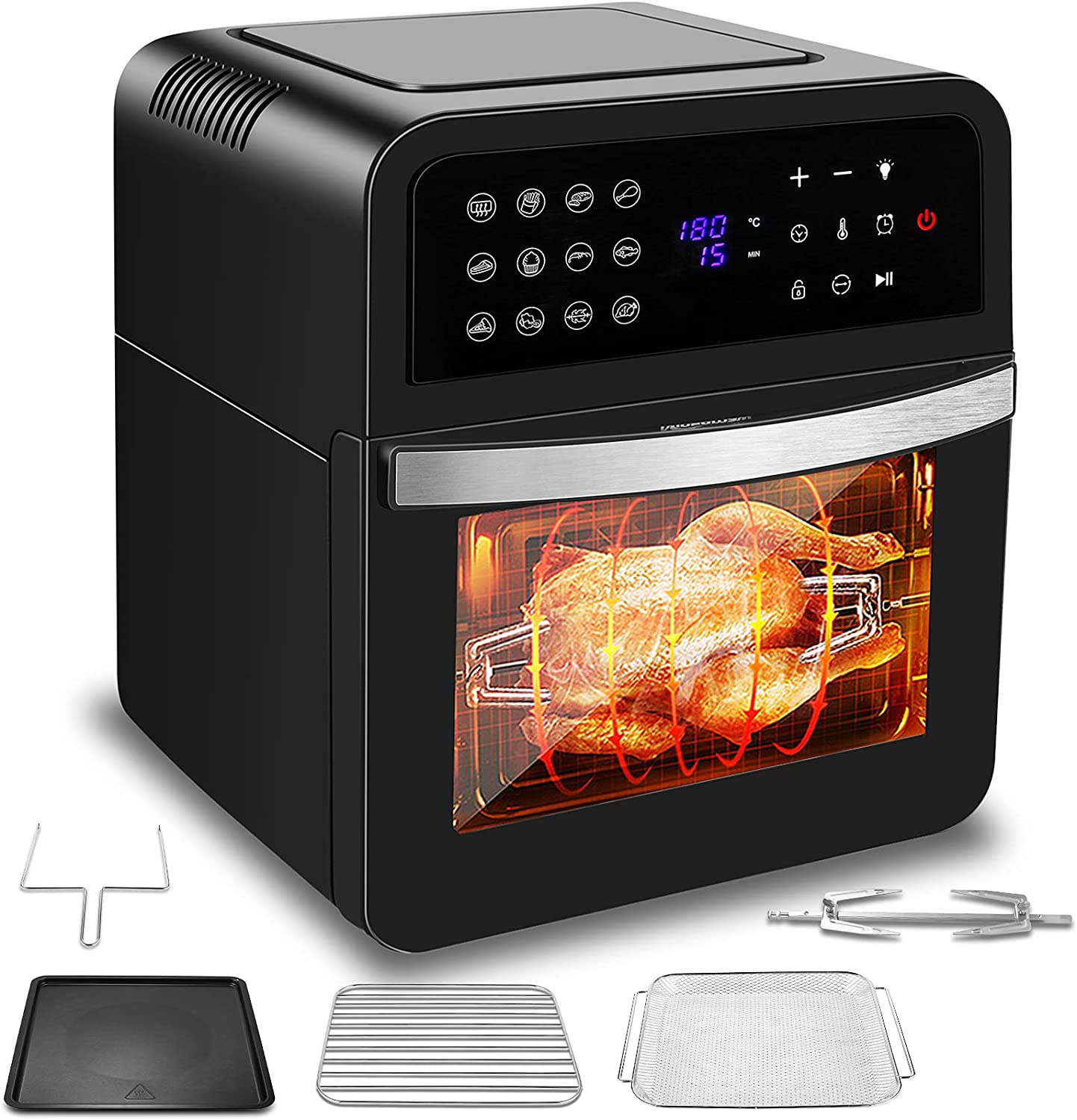 13 Quart Air Fryer Toaster Oven Combo, 12-In-1 Multifunctional Intell Small Air Fryer Cooker, For Baking, Roasting and Dehydrating, Digital LCD Touch Screen, Nonstick Basket, Accessories Included