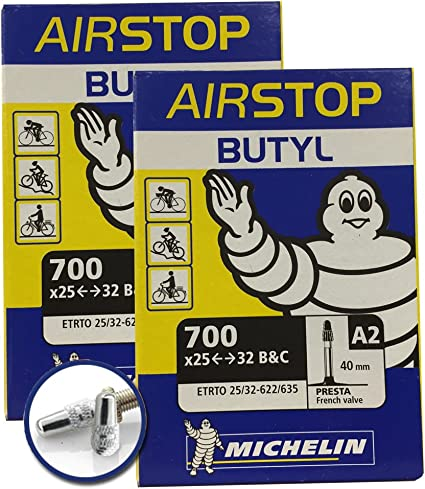 "Michelin Airstop Butyl Bike Tube 700x25-32 27/""x1-1//4/"" 40mm Presta Valve 700c"