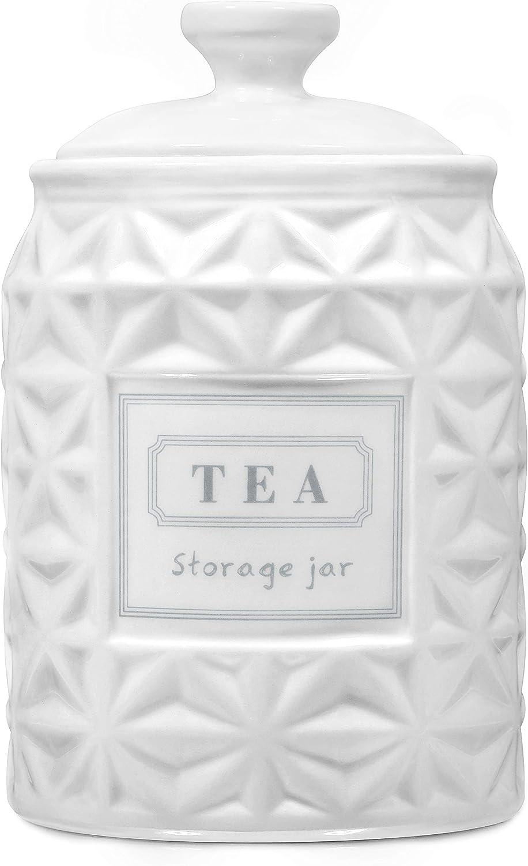 Ceramic Tea Canister Airtight, White Tea Jar Tea Bag Holder, TAWCHES White 1pcs