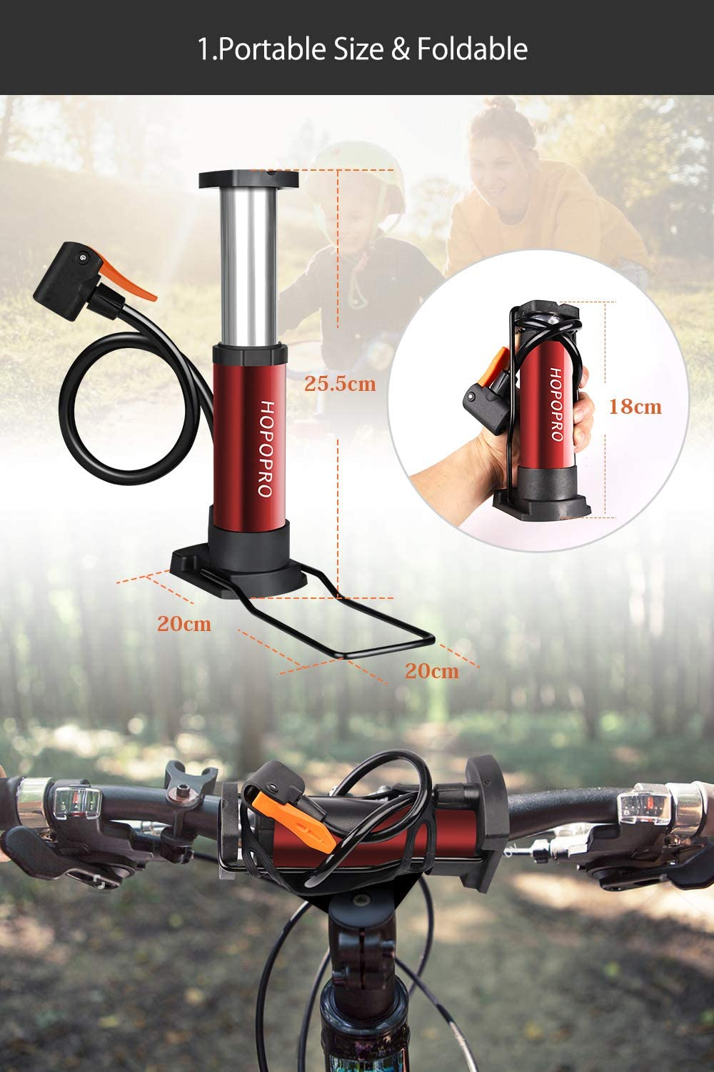 Mini Bicycle Pump Hopopro Portable Bike Pump Bike Floor Pump Bike Tire Pump Hand Foot Activated Bike Pump with Presta Schrader Valves Extra Valve and Gas Needle for Road Bike Mountain Bike Balls : Sports & Outdoors