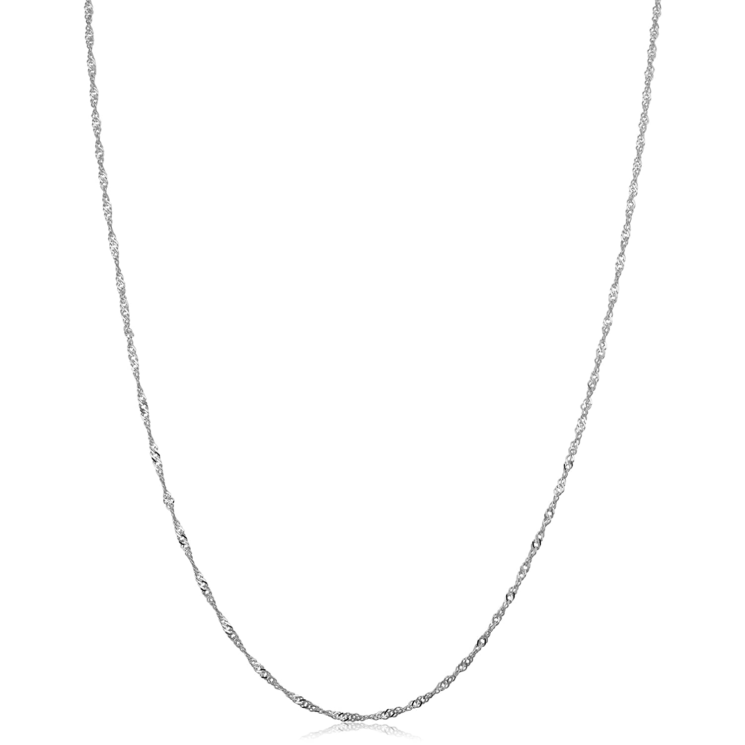 10k White Gold Singapore Chain Necklace 0.7mm, 1mm, 1.4mm, 1.7mm