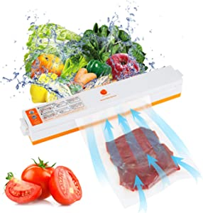 YUEKUI Food Saver,Vacuum Sealer Machine,Two Air Intake,Automatic Food Sealer for Food Savers, Dry Moist Food Modes,Includes 15 PCS Bags For Sous Vide and Food Storage