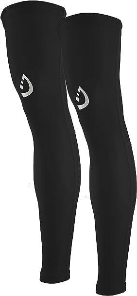 Santic Cycling Leg Warmers Thermal Fleeced Wind Proof Soft Shell Knee Warmer Black