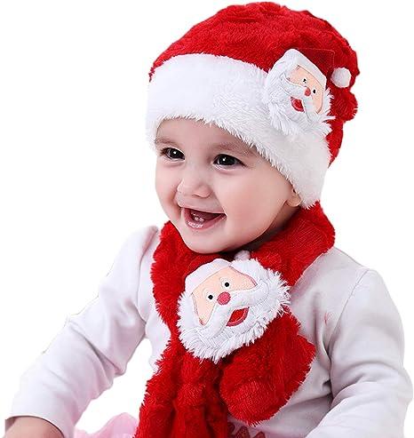 Bonnet de Noël pour bébé fille et garçon, Peluche Père Noël