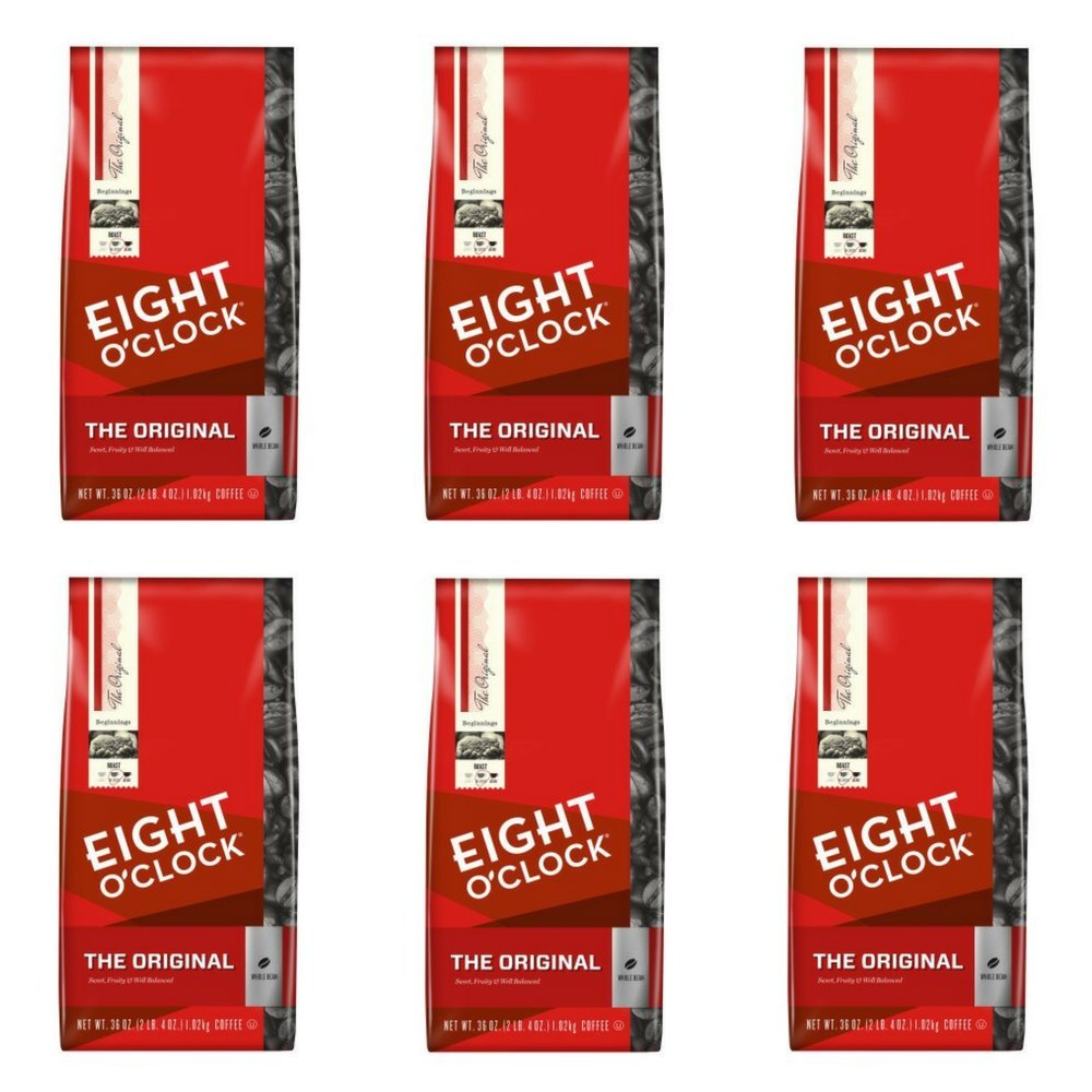 Eight O'Clock Whole Bean Coffee, The Original, 36 Ounce, Pack of 6