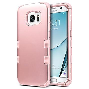 ULAK Carcasa S7 Edge, Galaxy S7 Edge Case Funda Carcasa Protección Hñbrida de 3 Capas de Silicona Suave Arma Interno para Samsung Galaxy S7 Edge (Rosa ...