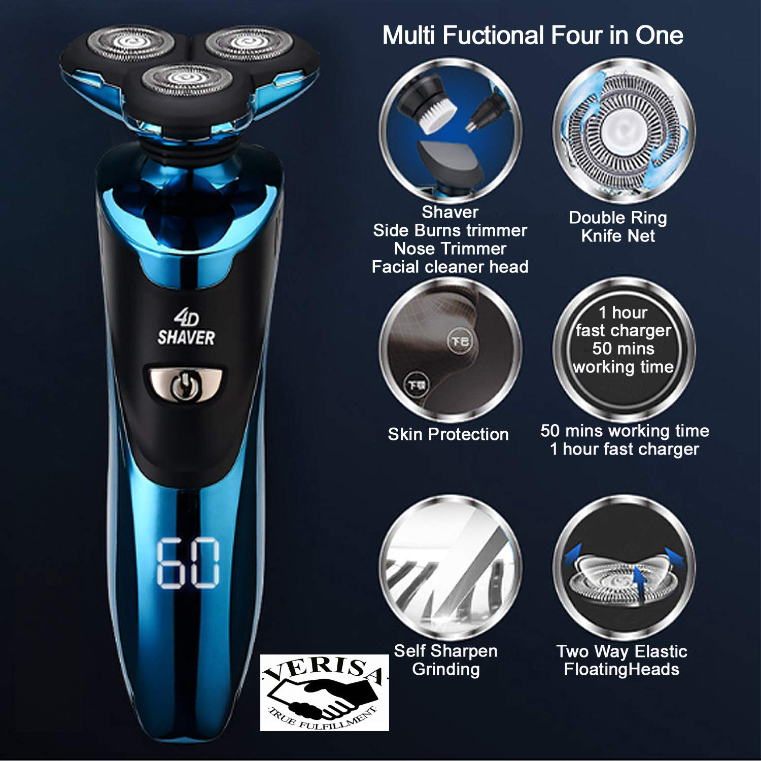 Electric Razor for Men with LED Display, Rechargeable IPX7 Waterproof Electric Shaver Wet and Dry Men\'s Rotary Shavers with Nose Ear Hair Sideburn Trimmer Facial Cleaning Brush and Charging Stand